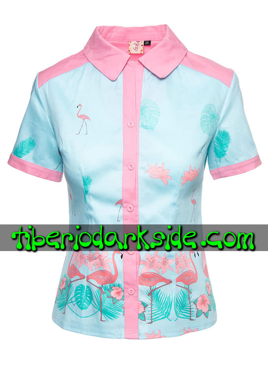Tops - Pin Up / Retro BANNED Camisa Pin Up Flamenco Rosa