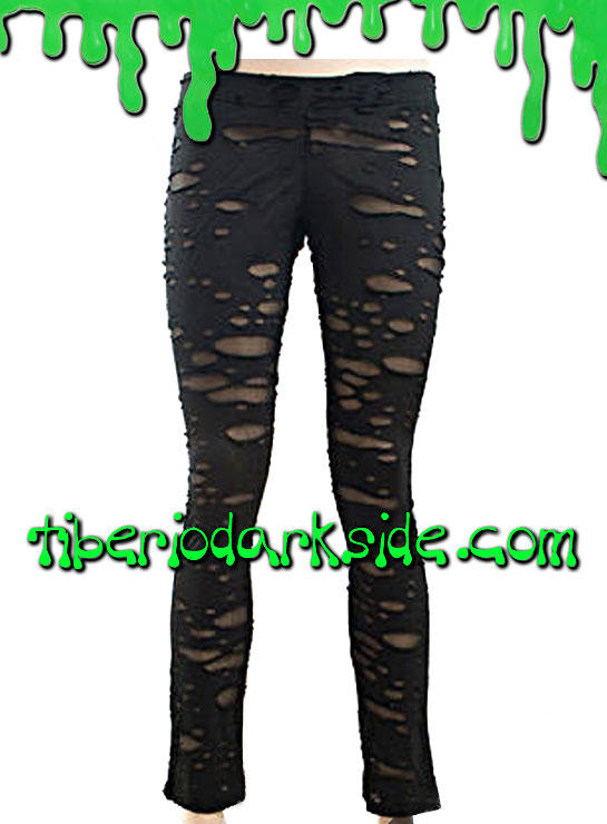 Pantalones - Leggings PUNK RAVE Leggings Ripped Negro
