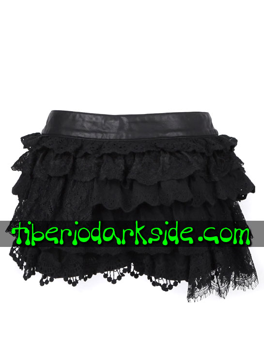 Tiberio Dark Side. Shorts - PUNK RAVE Shorts Goticos Piel Sintetica Volantes