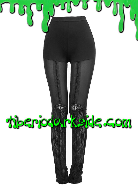 Pantalones - Leggings PUNK RAVE Leggings Goticos Piernas Encaje