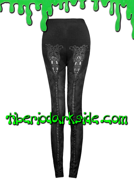 Pantalones - Leggings PUNK RAVE Leggings Goticos Encaje Guipur