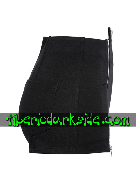Tiberio Dark Side. Shorts - PUNK RAVE Shorts Casual Goth Cremalleras Cintura Pico