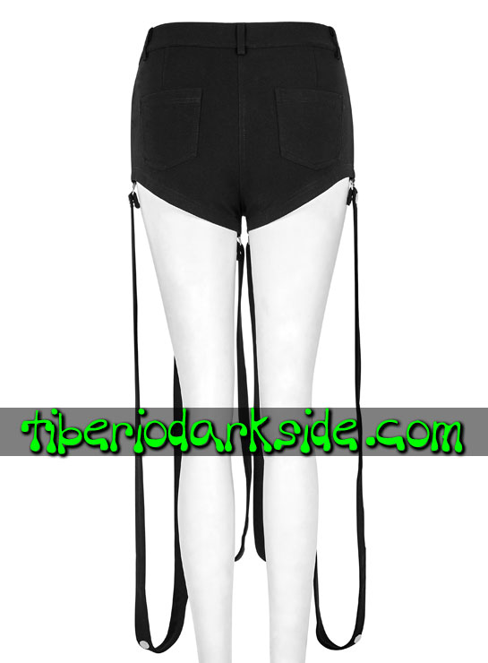 Tiberio Dark Side. Shorts - PUNK RAVE Shorts Cyber Goticos Correas Piernas
