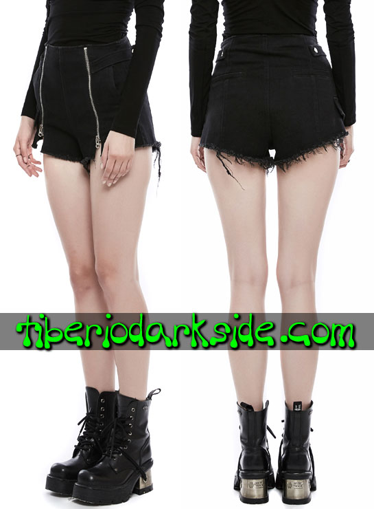 Tiberio Dark Side. Shorts - PUNK RAVE Shorts Casual Goth Cremalleras Cintura Alta