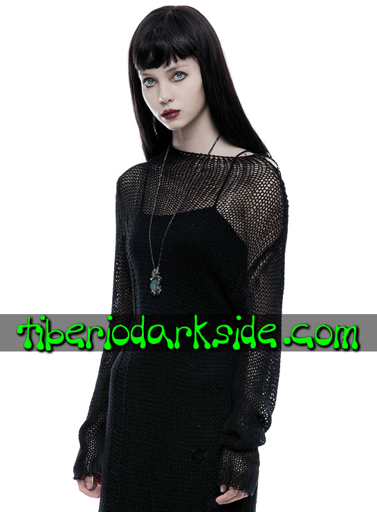 Tiberio Dark Side. Largos - Manga Corta - PUNK RAVE Vestido Casual Goth Sweater Ajado