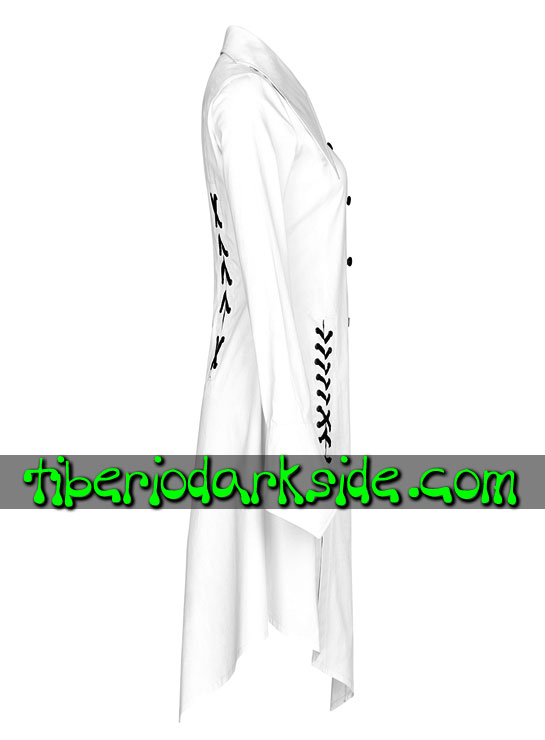 Tiberio Dark Side. CASUAL & DAILY GOTH - PUNK RAVE Camisa Larga Casual Goth Cuello Murcielago Blanco