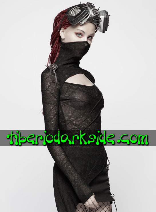 Tiberio Dark Side. Manga Larga - PUNK RAVE Top Cyber Goth Ninja Asimetrico