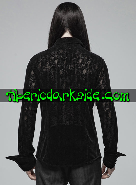 Tiberio Dark Side. Manga Larga - PUNK RAVE Camisa Gotica Encaje Flocado