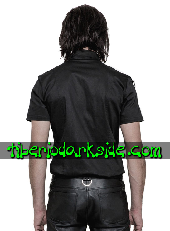 Tiberio Dark Side. Camisas - PUNK RAVE Camisa Industrial Ojales Hombros