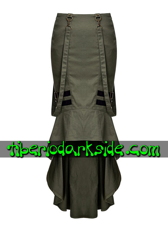 Tiberio Dark Side. CORPORATE & MILITARY GOTH - PUNK RAVE Falda Militar Uniforme Verde