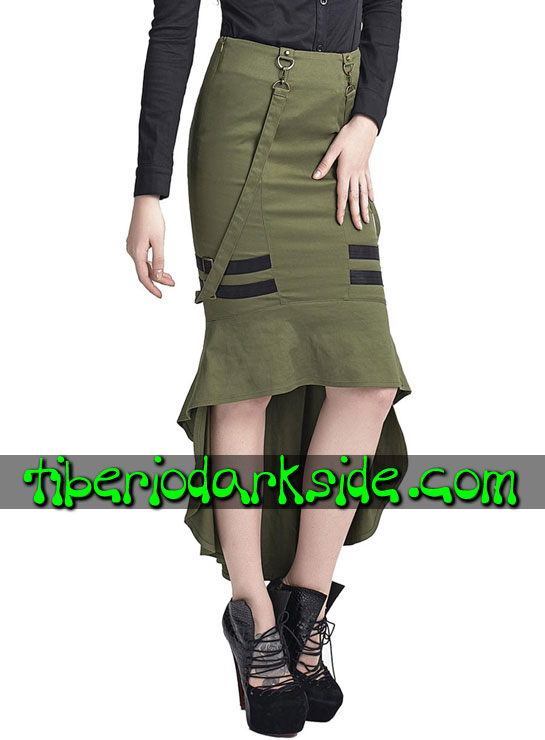 Tiberio Dark Side. MILITARY GOTH - PUNK RAVE Falda Militar Uniforme Verde