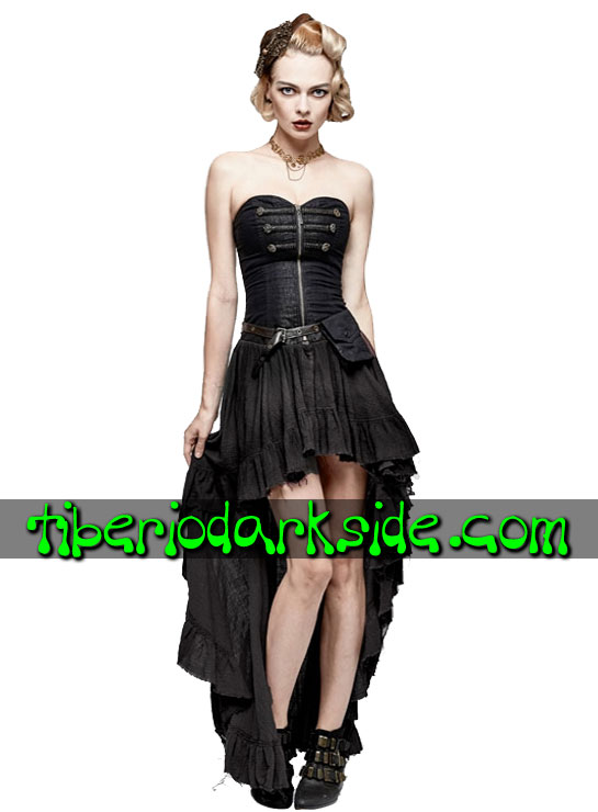 Tiberio Dark Side.  - PUNK RAVE Vestido Steampunk Bolsillo Lateral Negro