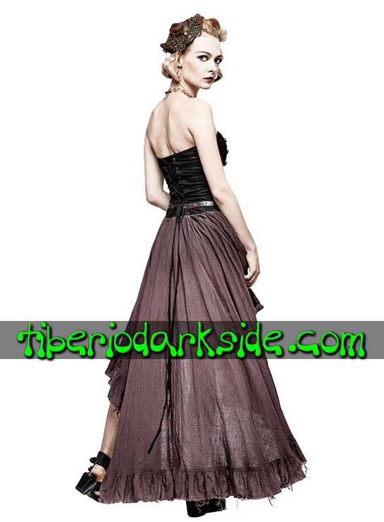 Tiberio Dark Side.  - PUNK RAVE Vestido Steampunk Bolsillo Lateral Marron
