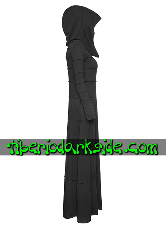 Tiberio Dark Side.  - PUNK RAVE Vestido Nu Goth Capucha Parches