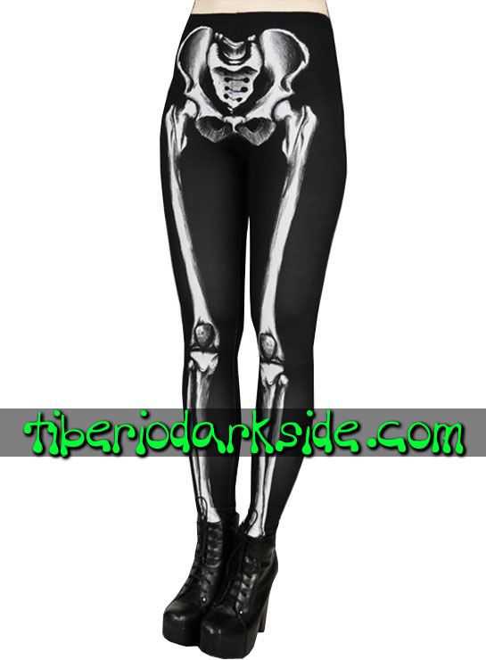 Tiberio Dark Side Leggings - RESTYLE Leggings Nu Goth Huesos Esqueleto