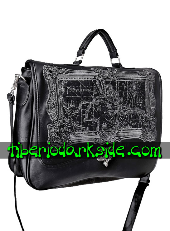 Tiberio Dark Side STEAMPUNK - RESTYLE Cartera Steampunk Mapa Pirata Negro