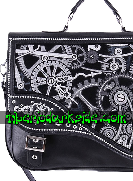 Tiberio Dark Side STEAMPUNK - RESTYLE Black Mechanism Steampunk Messenger Bag
