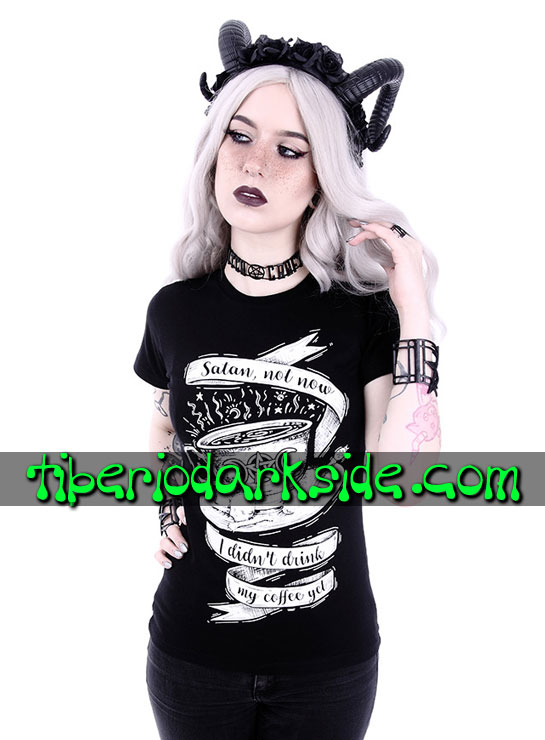Tiberio Dark Side Manga Corta - RESTYLE Camiseta Entallada Satan Not Now