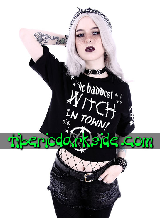 Tiberio Dark Side Camisetas - RESTYLE Camiseta Corta The Baddest Witch in Town