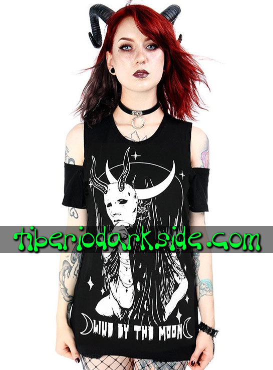 Tiberio Dark Side Manga Corta - RESTYLE Camiseta Hombros Live By The Moon