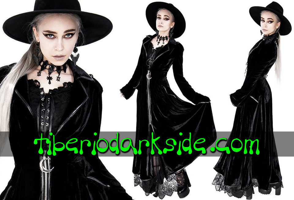 RESTYLE - Outwear RESTYLE Moon Back Chain Velvet Nu Goth Coat