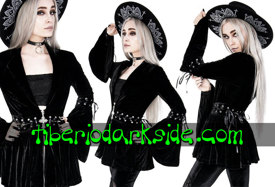 RESTYLE - Outwear RESTYLE Cross Lace Up Velvet Gothic Jacket