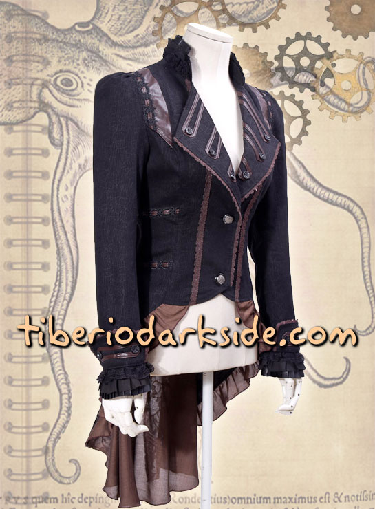 Tiberio Dark Side. Chaquetas - RQ-BL Chaqueta Steampunk Cola Marron