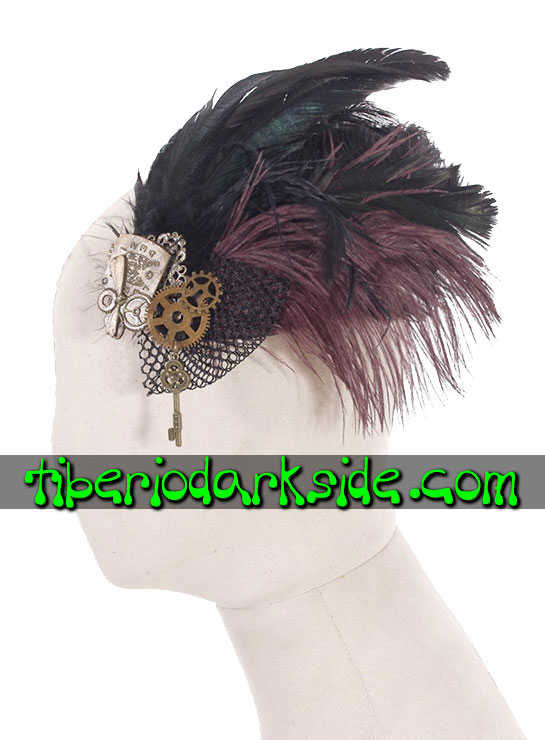 ACCESSORIES - Hair Accessories RQ-BL Feathers Key Steampunk Fascinator