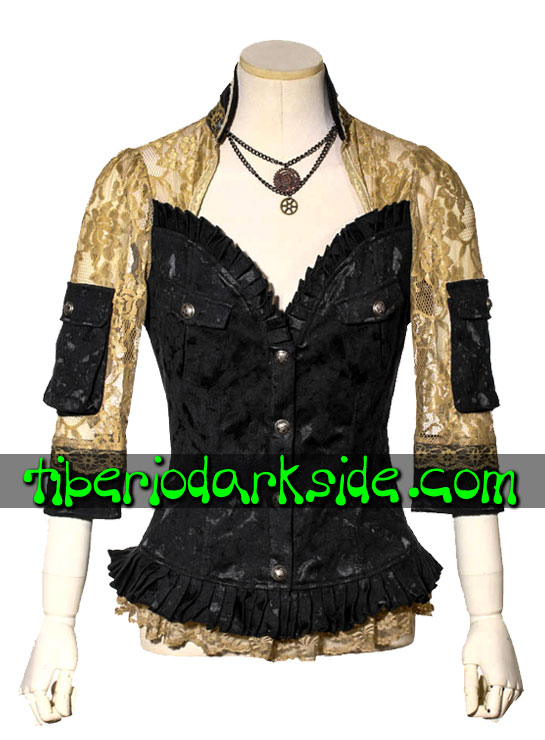 STEAMPUNK - Tops RQ-BL Camisa Steampunk Dama Noble