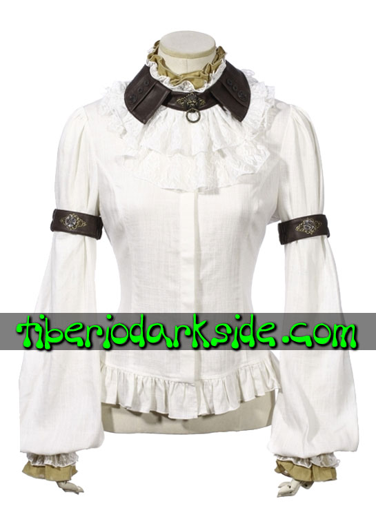 STEAMPUNK - Tops RQ-BL Camisa Steampunk Guardian Blanco
