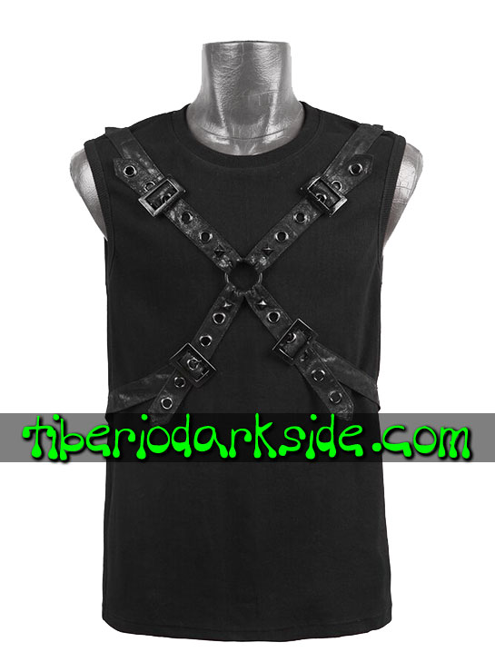 HOMBRE - Tops PUNK RAVE Top Post Apocaliptico Hebillas Negro
