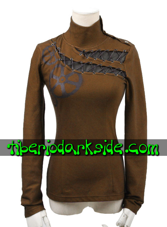 STEAMPUNK - Tops PUNK RAVE Top Steampunk Engranajes Marron