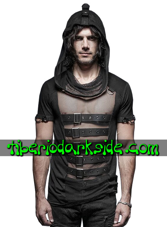 Tiberio Dark Side. Tops - PUNK RAVE Hooded Fishnet Cyber Goth Top