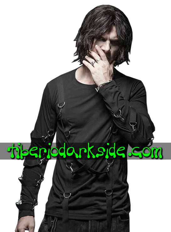 Tiberio Dark Side. Long Sleeve - PUNK RAVE Straps Industrial Goth Top