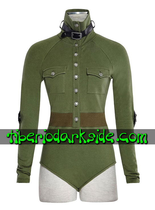 Tiberio Dark Side. CORPORATE & MILITARY GOTH - PUNK RAVE Body Militar Uniforme Verde