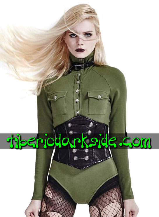 Tiberio Dark Side. MILITARY GOTH - PUNK RAVE Body Militar Uniforme Verde