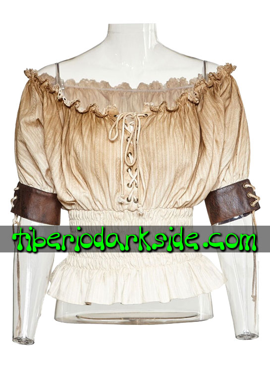 STEAMPUNK - Tops PUNK RAVE Blusa Steampunk Mesonera Beige