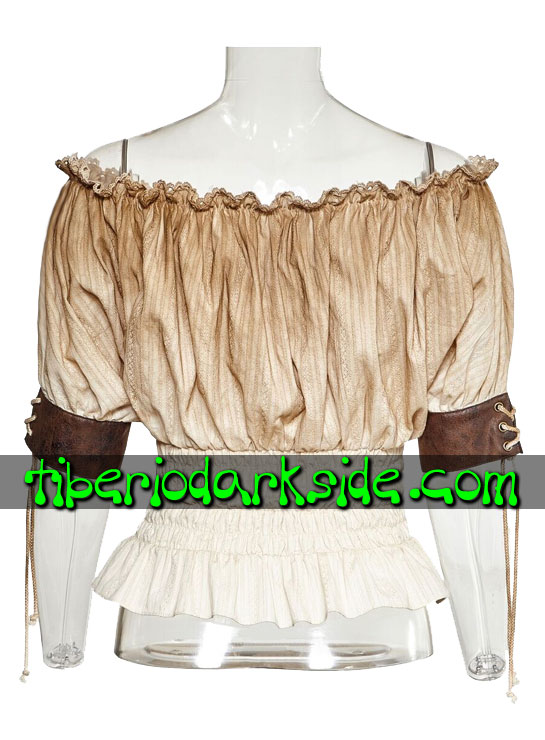 Tiberio Dark Side. Tops - PUNK RAVE Blusa Steampunk Mesonera Beige