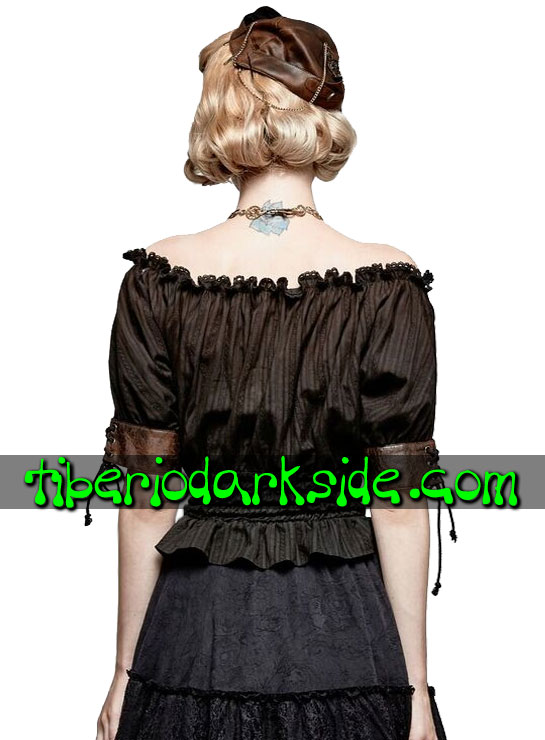 Tiberio Dark Side. Tops - PUNK RAVE Blusa Steampunk Mesonera Negro