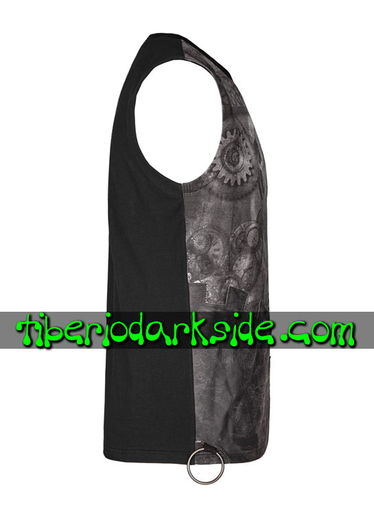 Tiberio Dark Side. Sin Mangas - PUNK RAVE Top Steampunk Engranajes Negro