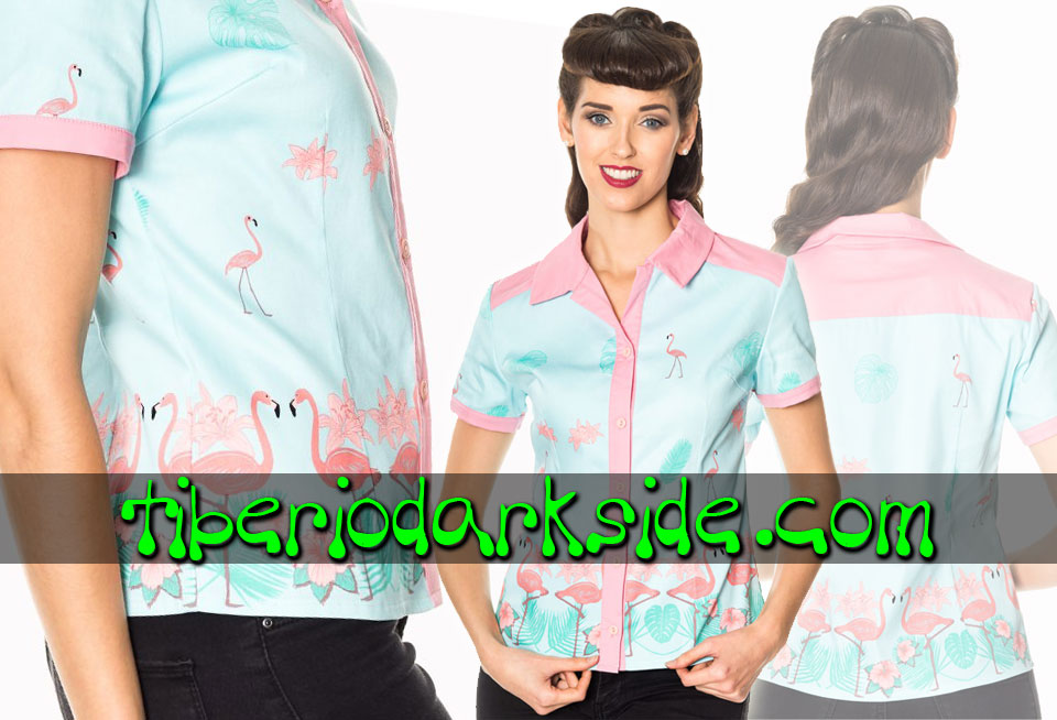Camisas - Manga Corta BANNED Camisa Pin Up Flamenco Rosa