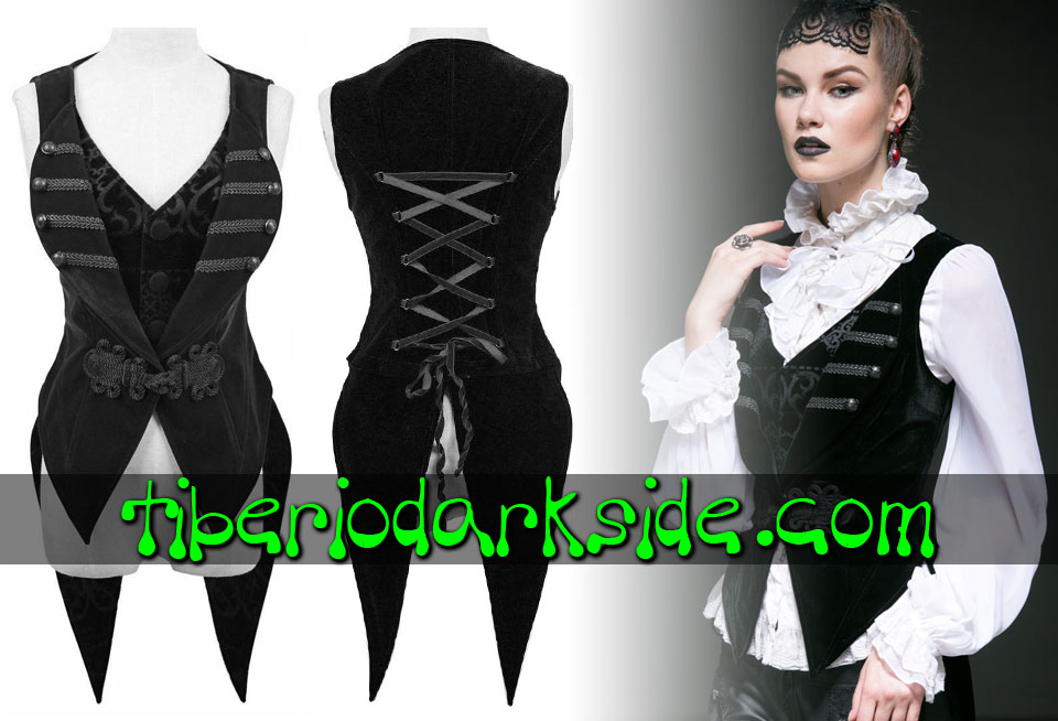 - VICTORIAN GOTH PUNK RAVE Detachable Tail Black Velvet Gothic Vest