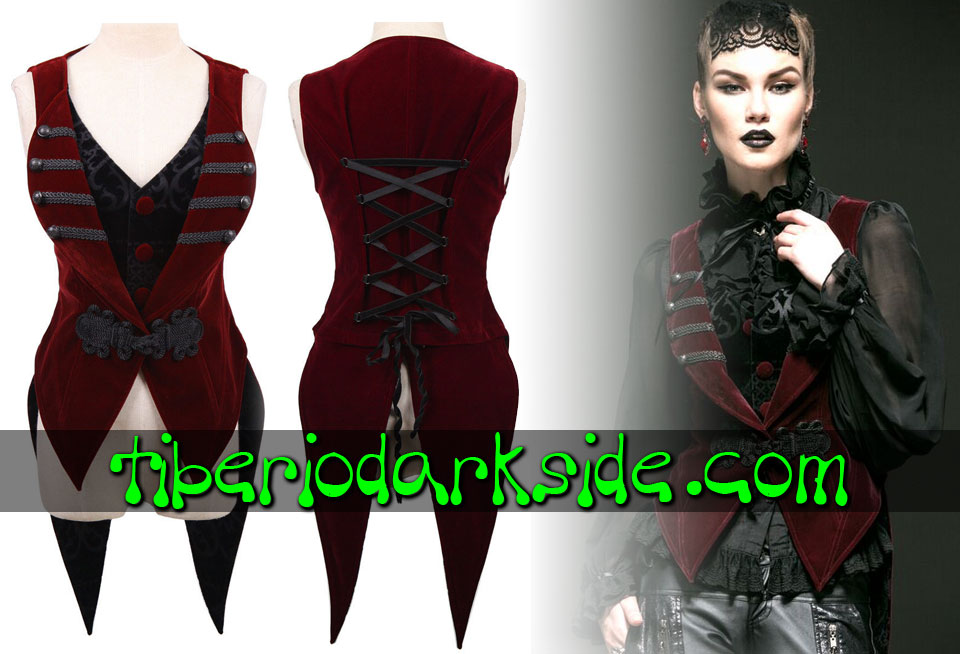 - VICTORIAN GOTH PUNK RAVE Detachable Tail Red Velvet Gothic Vest