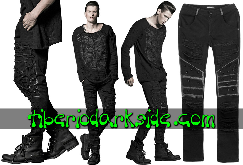 POST APOCALYPTIC & CYBER GOTH - Hombre PUNK RAVE Pantalones Post Apocalipticos Rajados