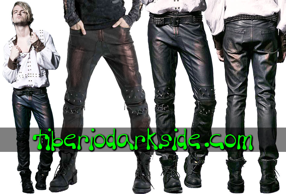 POST APOCALYPTIC & CYBER GOTH - Hombre PUNK RAVE Pantalones Post Apocalipticos Pinchos Bronce