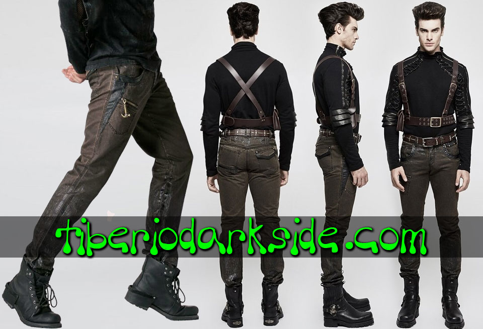 POST APOCALYPTIC - Men's PUNK RAVE Brown Wasted Post Apocalyptic Trousers