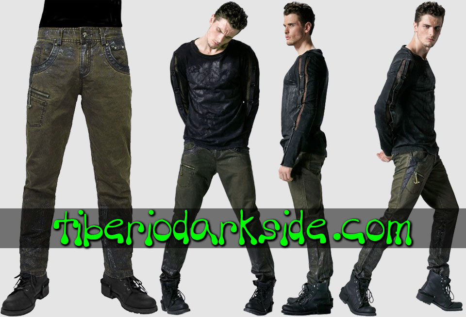 POST APOCALYPTIC & CYBER GOTH - Hombre PUNK RAVE Pantalones Post Apocalipticos Manchados Verde