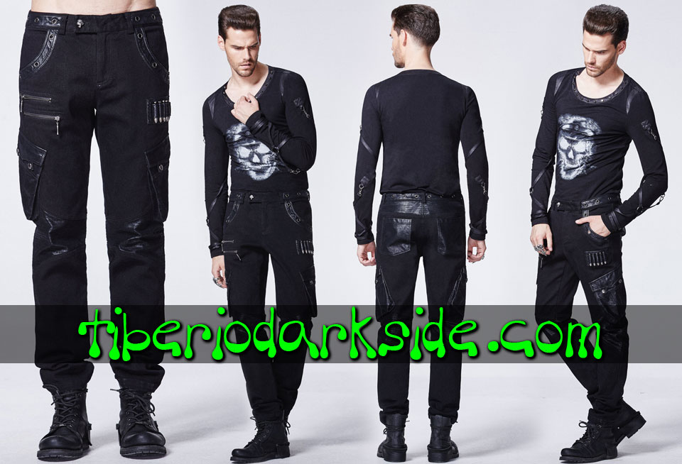 POST APOCALYPTIC & CYBER GOTH - Hombre PUNK RAVE Pantalones Post Apocalipticos Tacticos Cargo