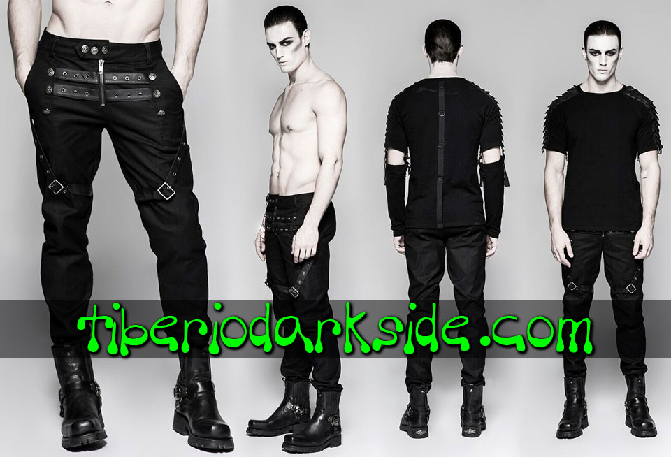 MILITARY GOTH - Hombre PUNK RAVE Pantalones Military Goth Hebillas