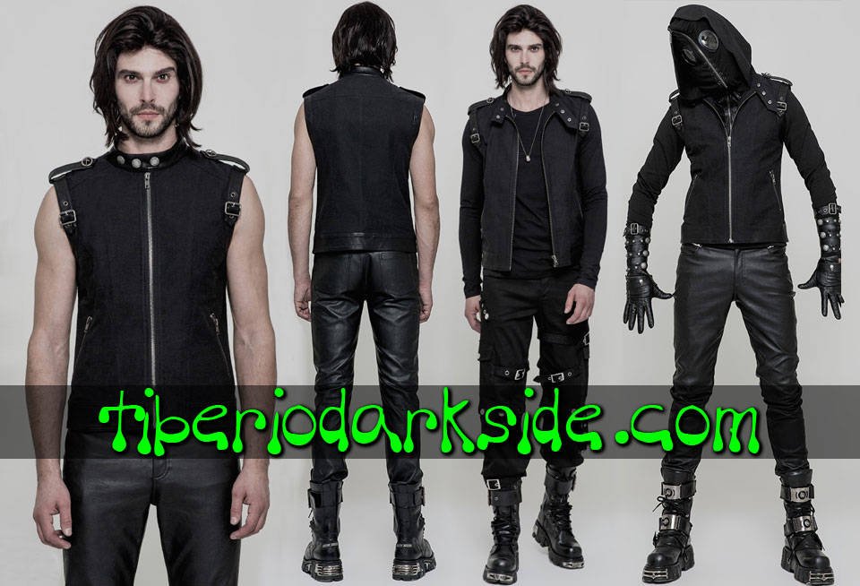 CORPORATE & MILITARY GOTH - Hombre PUNK RAVE Chaleco Gotico Militar Hebillas